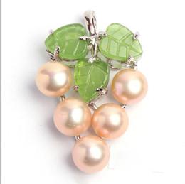 $enCountryForm.capitalKeyWord Australia - necklac Hot sale new Style >>>>>Natural Pink Akoya Cultured Pearl Green Jade Grape Shape Pendant Necklace