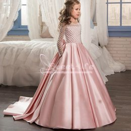 EvEning gowns for toddlErs online shopping - Pink Long Sleeves Flower Girl Dresses Satin Floor Length Formal Wedding Party Gowns For Kids Toddler Pageant Evening Wears