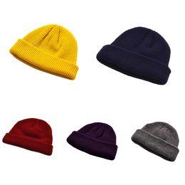 Men Women Knitted Hat Beanie Skullcap Sailor Cap Cuff Casual Brimless Retro  Navy Fashion Warmer Winter Unisex Solid Harajuku New 450d9068bcde