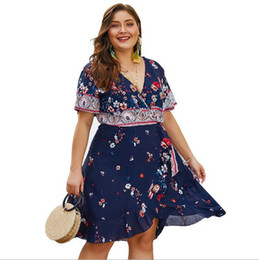 China Hot selling blockbuster Women Dresses 2019 new women's clothes cotton printed lotus edge large size dress suppliers
