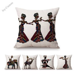 $enCountryForm.capitalKeyWord Australia - Abstract Africa Art Dancing African Women Painting Exotic Decoration Style Cushion Cover Elephant Cotton Linen Sofa Throw Pillow