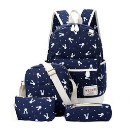 Women's Bags Backpacks 4pcs/sets 2019 Women Backpacks Cartoon Rabbit Printing Canvas Schoolbags For Teenage Girls Students Children Mochila Feminina To Have A Unique National Style