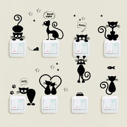 Cute Phone Stickers Australia - Cute Cats Light Switch Phone Wall Stickers For Kitchen Room DIY Home Decor Living Room Cartoon Animals PVC Mural Wall Art Decals