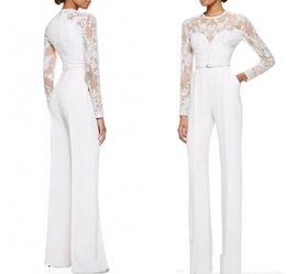$enCountryForm.capitalKeyWord Australia - white lace appliques mother of the bridal pants suit long sleeve elegant evening suit Women party suits