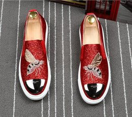 Red Man Dresses Australia - New Luxury Men's Fashion Casual Shoes black Gold red Glitter Leisure Slip on Rivets Loafers Shoes Man Party Weeding Dress Shoes