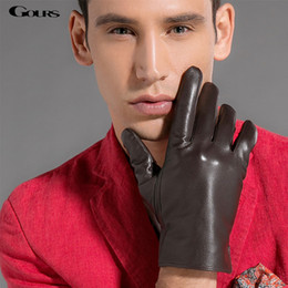 $enCountryForm.capitalKeyWord Australia - Gours Touch Screen Gloves 2018 Winter Fashion New Driving Men's Genuine Leather Gloves Goatskin Black Plus Velvet Warm GSM006