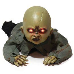 BaBy secrets online shopping - Halloween Decorations Animated Binocular Flashing Crawling Ghost Doll Creepy Baby Bar Haunted House Secret Room Decoration Props JK1909