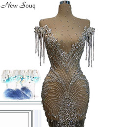 sexy knee length trumpet dress NZ - Luxury Full Crystal Illusion Evening Dresses Sexy See Through High Neck Knee Length Mermaid Evening Gowns Custom Made Couture