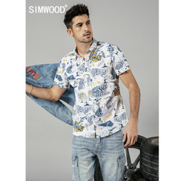 Discount simwood clothing - SIMWOOD 2019 summer new cat print short sleeve shirts men 100% cotton fashion hawaii shirt plus size brand clothing 1902
