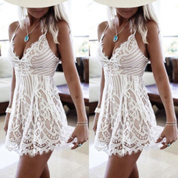 casual white cotton maxi dresses Australia - Designer Dresses Womens Clothing Summer Women Sleeveless Lace Evening Casual Dresses Party Mini Dress White Sexy Dresses Good Quality