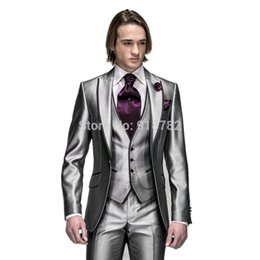 $enCountryForm.capitalKeyWord Australia - 2018 New Style Shiny Silver Peak Lapel Groomsmen Best Man Wedding Suits For Men Slim Fit Groom Tuxedos (Jacket+Pants+Vest+Tie)