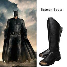 $enCountryForm.capitalKeyWord Australia - Justice League Batman Cosplay Boots Bruce Wayne Shoes Batman v Superman Dawn Superhero Cosplay Black Leather Shoes Customized