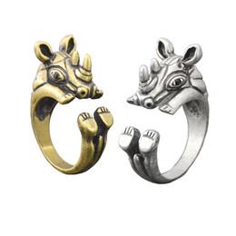 $enCountryForm.capitalKeyWord Australia - Punk Retro Vintage Silver Bronze Rhino Ring For Women Mid Finger Big Animal Rhinocerors Wrap Wedding Rings Girls Men Ring Cool Kids Gift