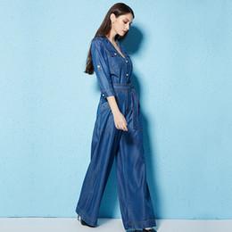 $enCountryForm.capitalKeyWord Australia - Free Shipping New Fashion Safari Style Half Sleeve Women Wide Leg Denim Jeans Jumpsuit And Rompers Trousers S-L Thin Summer