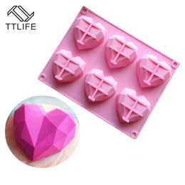 silicone molds for cakes Australia - Molds TTLIFE Cake Mold 6 Cavity Silicone Mould Cake Decorating Tools Diamond Heart Shape Bakeware Form for Soap Mousse Pastry Tools