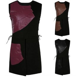 medieval costumes women UK - Sleeveless side straps round collar stitching costume stage clothes men's medieval clothing stage clothes DT0101