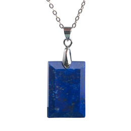 $enCountryForm.capitalKeyWord UK - Genuine Jewelry Pendant Necklace For Men Natural Stones Lapis Lazuli Rectangle Beads Gems Crystal Charm Pendants 22*15*4mm