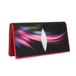 Chinese  Fancy Designer Genuine Stingray Leather Women's Thin Clutch Purse Lady Card Holder Exotic Skate Skin Female Long Bifold Wallet manufacturers