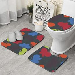Natural Fibers Australia - Free Natural Fibers blue 3 piece set bathroom, non-slip carpet set mat best long bath bathroom rug