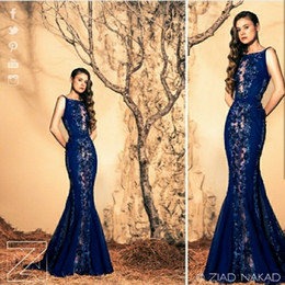 Discount ziad nakad lace applique evening - Fashion Ziad Nakad Evening Dresses Appliqued Sequins Lace Bling Beaded Sweep Train Mermaid Prom Dress Sexy Custom Made C