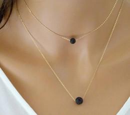 $enCountryForm.capitalKeyWord Australia - Black Volcanic Stone Double Necklaces Stylish Decoration Unusual Gold PendantPendants Simple Gift Chains and Necklaces
