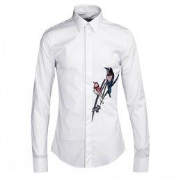 Bird collar shirt online shopping - New Mens Birds Embroidery Office Work Formal Shirt White Black Plus Size Wedding Dress Shirts Man Spring Cotton Long Sleeve Top