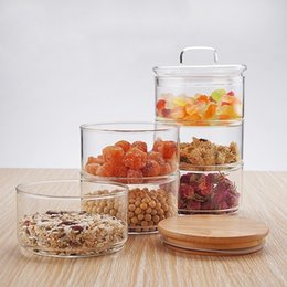 Glasses Storage Australia - New 1200ml 3-layer Mason Borosilica Glass Jar Kitchen Food Bulk Container Set For Spices Dried Fruit Storage Can Salad Bowl Box Q190604