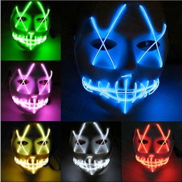 glow costumes Canada - Hot New LED Halloween Ghost Masks The Purge Movie Wire Glowing Mask Masquerade Full Face Masks Halloween mask Costumes Party mask Gift