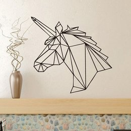 Wall Stickers Design For Kids NZ - Geometric Deer Head Vinyl Wall Stickers Design Home Removable Waterproof Poster Wall Decals Wall Stickers For Kids Room