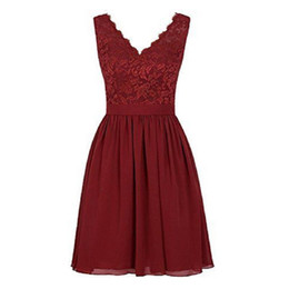 Short Burgundy V-neck Bridesmaids Dresses Lace And Chiffon Real Picture A-line Beach Maid Of Honor Gowns For Girls Weddings Party