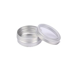 $enCountryForm.capitalKeyWord Australia - 60ML Aluminum Cream Jar Pot with Visible Window Silver Box Screw Lid Nail Art Makeup Lip Gloss Empty Cosmetic Metal Tin Containers