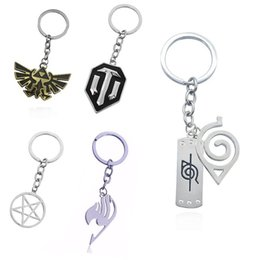 $enCountryForm.capitalKeyWord UK - Japan Fashion Anime Naruto Keychain Silver Fairy Tail Keychains Star Round Tanks Keychain For Men Unisex Key Chains Mens Jewelry