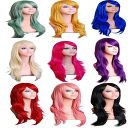 wig cotton NZ - Harajuku Women Cosplay Wig Red 70CM Curly Wave Hair Long Synthetic Wig for Ha5lloween Party Perruque Peluca Peruca Femininas
