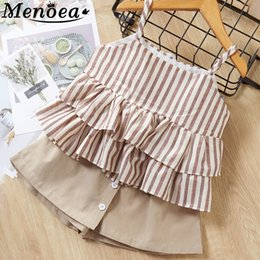 $enCountryForm.capitalKeyWord Australia - Girls Clothes Suits 2019 New Summer Style Children Bow Lace Sling Clothes Striped Short Pants Sets For 3-7y Kids Sleeveless Sets