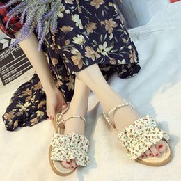 floral print shoes for women 2019 - MUQGEW Women Sandals Casual Slipper Slip On Sandals Floral Printing Summer Girl Open Toe Sweet Flat Beach Shoes For Wome
