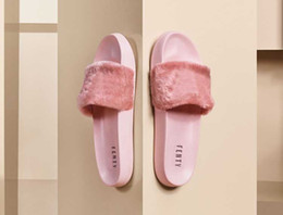 Straw flat flip flopS online shopping - 2109 With Shoes Boxes Leadcat Fenty Rihanna Shoes Women Slippers Indoor Sandals Girls Fashion Scuffs White Grey Pink Black Slide