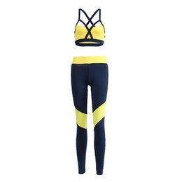 Top Yoga Pants UK - Padded Bra Vest Top & Pants Sport Clothing Sport Suit Running Set Gym Clothing Sportswear Fitness Suit Yoga Clothes Gym