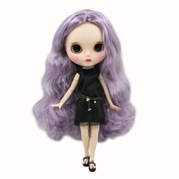 Painting Faces Australia - Blyth Doll 1 6 Joint Body hand painted mette face white skin Dreamy purple long curly hair Manual eye parts DIY BJD SD toy gift