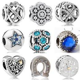 Btuamb Luxuriöse Kristall Liebe Herz Stern Blume Stern Mond Krone Kreuz Anhänger Perlen Für Pandora Charm Bangles Femme DIY Schmuck