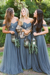 c9b4922bb4e Dusty Grey Country Bridesmaid Dresses 2019 with Sleeves Off shoulder  Sweetheart Tulle Ruched Long Cheap Bridesmaid Party Prom Dress Cheap