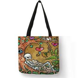 Ladies Handbags For Office Australia - 2019 New Style Pattern Bolsos Mujer Handbag For Ladies Tatoos Art Flower Skull Eco Linen Tote Bag Reusable Office Daily