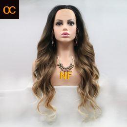 2020 Yeni Mat OC908 Kişiselleştirilmiş Özelleştirme Kimyasal Elyaf Peruk Avrupa ve Amerika Ön Dantel Hood Kadın Uzun Düz Saç Rengi