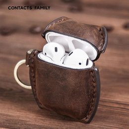 wholesale italian leather Canada - Retro Italian premium Genuine Leather Case Suitable For Airpods 1 Airpods 2 Wireless Bluetooth Headset Set Shatter-resistant Leather Case