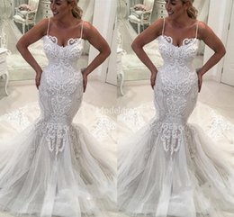 $enCountryForm.capitalKeyWord Australia - 2019 Charming Lace Mermaid Wedding Dresses Spaghetti Strap Sweep Train New Country Style Castle Chapel Bridal Gowns Modern Vestidoe De Noiva