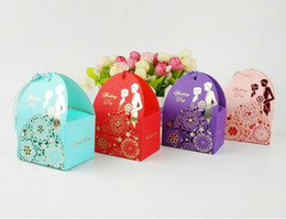 Wholesale Boxes Packaging Australia - Hollow flower dress Bride Groom Wedding Favor Holders Paper Candy box for Guest favor gift package party supply