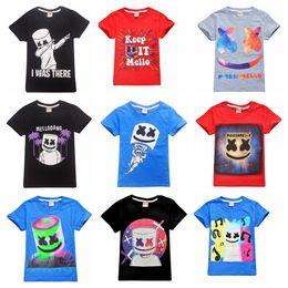 Clothing For Girls Wholesales Australia - 39 designs Marshmellow DJ Music Print marshmello cartoon T shirt boys girls t shirt clothing Game toy clothes for big kids