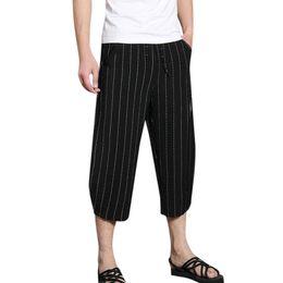 Drawstring Trousers Australia - Plus Size Men Trousers Jogger Pants For Men Drawstring Casual Striped Pocket Calf-Length Trousers Loose Wide Legs pants 2019