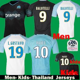 2019 Olympique De Marseille BALOTELLI PAYET Gustavo Soccer Jerseys 18 19  Kids OM Maillot De Foot Kits Home Way Third Black Football Shirts ba0398d2b