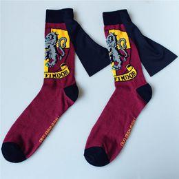 Long schooL socks online shopping - Harry Potter Socks Baseball Socks Hogwarts Magic School Long Tube Striped Word Badge Sock Gryffindor Slytherin Ravenclaw Colorfull HHA373