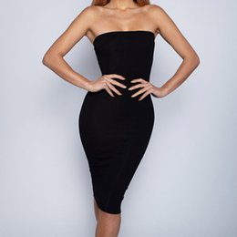 TighT dresses designs online shopping - Women Sexy Bodycon Sleeveless Pencil Strapless Off shoulder Dress Tights Slim Dress Sexy Summer Tops For Women Fashion Design